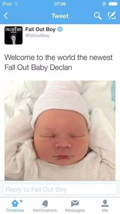 Ahhhhhh Declan Stump, Ruby Trohman, Bronx and Saint Wentz + Andy's kid if/ when he has one could form the next generation of Fall Out Boy. They're band name would be. Fall Out Boy, Save Rock And Roll, Soul Punk, Patrick Stump, Falling In Reverse, Pete Wentz, Panic! At The Disco, Paramore, Green Day
