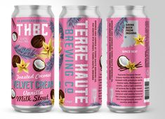 Terre Haute Brewing of Indiana (THBC) – Toasted Coconut Velvet Cream Vanilla Milk Stout – Brand ID & Packaging Island Crafts, Velvet Cream, Vanilla Milk, New Growth, Toasted Coconut, Marketing And Advertising, Craft Beer, Brewery, Indiana