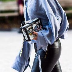 Oversized Blue Shirt and Louis Vuitton Bag