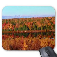 Mt. Katahdin Surrounding Autumn Scenery Standard Mouse Pads by KJacksonPhotography --  Taken 10.12.2014 Salmon Stream Lake surrounded by the colorful canopy of autumn leaves of the forest just below Mt. Katahdin - brilliant dazzling reds,oranges and golds. The lake beautifully reflects the kaleidoscope of colors of this fall's vivid hues. From the I95 scenic turnout, mile marker 252 in Maine.PC:244.285