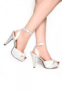 Bettie Ivory Satin Heel with Ankle Strap and Peep Toe