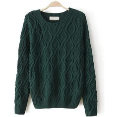 Dark Green Pure Color Braid Pullover Sweater (35 NZD) ❤ liked on Polyvore featuring tops, sweaters, braided sweater, pullover sweater, sweater pullover, pullover tops and green top