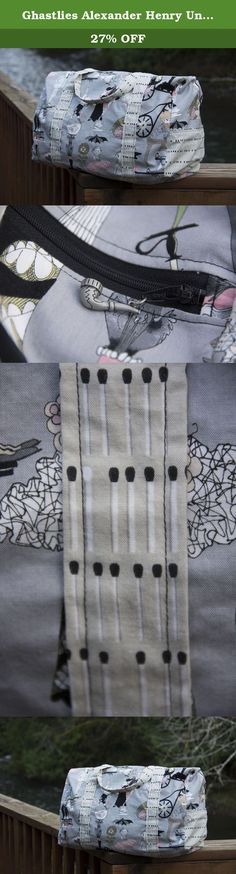 Ghastlies Alexander Henry Unique Handmade Duffel Bag, Carry On Sized, Airplane Luggage. CARRY ON SIZE! This listing is for a custom, ONE-OF-A-KIND GHASTLIES by Alexander Henry, handmade duffel bag. Featuring ghastly gray fabric, accented with matchstick straps and complete with a pipe zipper charm. The complete bagging solution! This custom, unique, one of a kind, handmade duffel bag is ready for the taking. This handmade bag is a great overnight bag, sports bag, gym bag, travel bag…