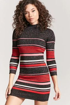 Product Name:Metallic Multistripe Bodycon Dress, Category:dress, Price:24.9