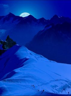 View from the Aguille du Midi, Chamonix, France - a classic run down the Vallee Blanche by moonlight.