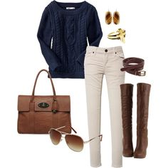 A fashion look from January 2012 featuring Old Navy sweaters, Mulberry tote bags and Kendra Scott earrings. Browse and shop related looks.