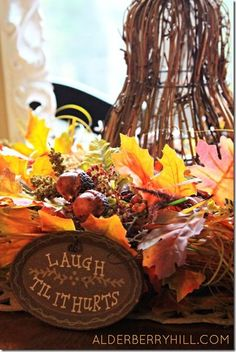Fall Table Vignette  #fall  #leaves  #alderberryhill Make the Scene Monday #92