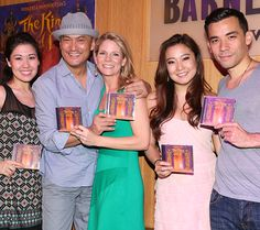 Ruthie Ann Miles, Ken Watanabe, Kelli O'Hara, Ashley Park, and Conrad Ricamora celebrate the 2015 Broadway cast recording of The King and I.