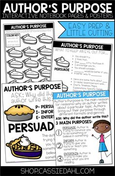 Here are four interactive notebook pages, a full-page poster and a set of mini-posters all about author's purpose. The notebook pages are easy prep and require little cutting. Guided Reading, Teaching Reading, 2nd Grade Ela, Classroom Routines, Writer Tips, Authors Purpose, Teachers Corner, Interactive Notebooks, Book Club Books