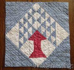 Antique c1880 Pine Tree QUILT Piece Make Pillow or Frame Red White Blue, eBay, vintageblessings