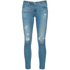 Ag Jeans Ripped Super Skinny Jeans (15,890 INR) ❤ liked on Polyvore featuring jeans, destroyed jeans, torn skinny jeans, torn jeans, blue skinny jeans and ripped skinny jeans