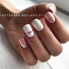 91 simple short acrylic summer nails designs for White Nail Art Ideas Nail Art Stripes, Striped Nails, White Nail Art, White Nails, Stylish Nails, Trendy Nails, Milky Nails, Nagellack Design, White Nail Designs