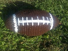 """I made this pattern to be the official size of a football. 11"""" long with a 24"""" circumference."""