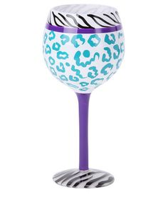 Take a look at this Blue Leopard 18-Oz. Wine Glass by Dennis East International on #zulily today!
