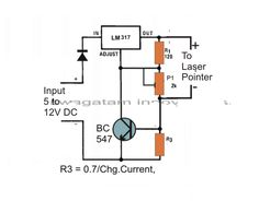 The post explains a simple laser pointer power supply circuit which has a precise voltage and current controlled output features. Led Projects, Electrical Projects, Circuit Projects, Dc Circuit, Circuit Diagram, Hobby Electronics, Electronics Projects, Arduino Laser, Battery Charger Circuit