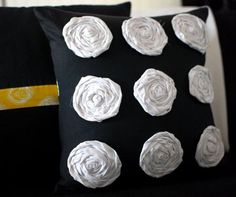 DIY Rosette Pillow in yellow flowers w/ brown boarder