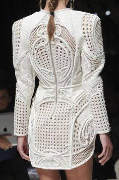 Structured dress with woven panels & ornate patterns, runway fashion details // Balmain