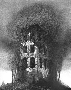 Hello: In this project I want to recreate a scene similar of one created by the amazing Polish artist Zdzisław Beksiński. The terrain was made with basic Ant Landscape, and the stones as… Arte Horror, Horror Art, Dark Fantasy, Fantasy Art, Post Apocalyptic Art, Arte Obscura, Creepy Art, Gothic Art, Surreal Art