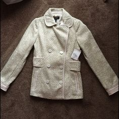 Victoria Secret Pea Coat  Never worn!! Brand new. Size small. Very cute stylish pea coat !! Gold shimmery detailed with pink outlining.. Victoria's Secret Jackets & Coats Pea Coats