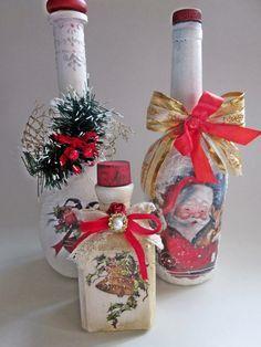 Christmas by VintageShabbyRustick Wine Bottle Art, Diy Bottle, Wine Bottle Crafts, Glass Bottle, Christmas Labels, Christmas Crafts, Christmas Ornaments, Pine Cone Christmas Decorations, Christmas Decoupage