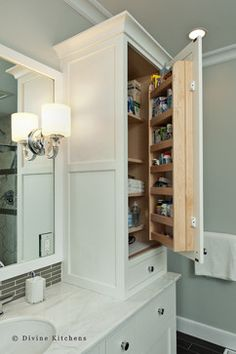 Master Bath Linen Closet and Medicine Cabinet Doors is genius!