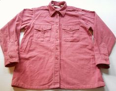 Vintage LL BEAN Men's Chamois Cloth Rose Flannel Shirt size 14 SMALL Made in USA #LLBean #ButtonFront