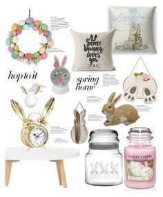 """BunnyDecor"" by blancau on Polyvore featuring interior, interiors, interior design, home, home decor, interior decorating, Yankee Candle, PBteen, springhome and bunnydecor"
