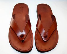 Brown Surf Leather Sandals. $50.00, via Etsy.