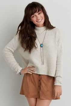 AEO Front Button Soft Skirt , Tan | American Eagle Outfitters
