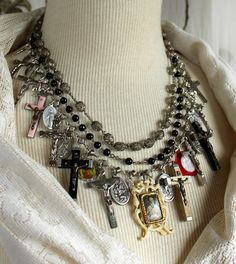 Collected Blessings Assemblage Collage cross necklace