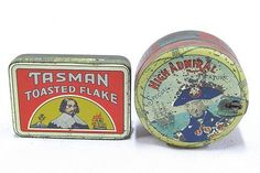 Tobacco Tins X 2 - 2oz. 'Tasman Toasted Flake', stunning condition, 95% & round 'High Admiral Special Mixture' featuring Nelson, some spotting & wear, 75%. Condition: Good. #Tins #Collectable #MADonC