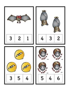 Bats & Spiders Number Cards ~ Preschool Printables