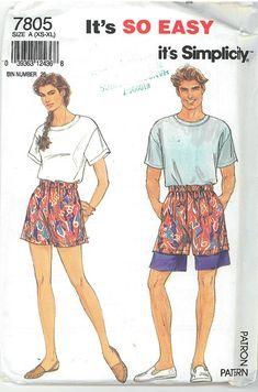 Simplicity Sewing Pattern. Vintage 1980's Retro Unisex