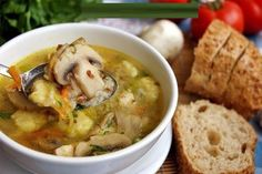 Buckwheat soup with mushrooms and potato dumplings / Amazing Cooking My Recipes, Soup Recipes, Cooking Recipes, Cooking Food, Breakfast Casserole With Biscuits, Buckwheat Recipes, Hungarian Recipes, Mushroom Recipes, Diy Food