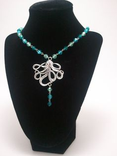 Blue Green Beaded Octopus Necklace by GhastlyGoverness on Etsy, $15.00