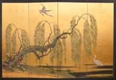 Japanese Screen: Weeping Willow, late 19th century.