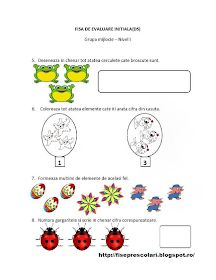 Fise de lucru - gradinita: FISE de Evaluare Initiala grupa MIJLOCIE - DS - DLC - DOS Numbers Preschool, Preschool Worksheets, Activities For Kids, Crafts For Kids, Montessori, Kindergarten, Math, Blog, 1 Decembrie