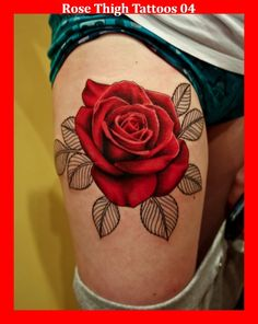 Rose Thigh Tattoos 04