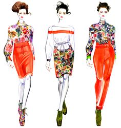 Preen 2012 Fall RTW by Sunny Gu #fashion #illustration #fashionillustration