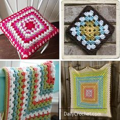 Use this basic crochet granny square pattern to create beautiful baby blankets, stool or pillow covers or anything else you wish.