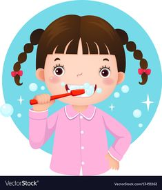 Cute girl brushing her teeth Royalty Free Vector Image Tooth Cartoon, Cartoon Wolf, Kids Vector, Vector Free, Teeth Drawing, Tooth Icon, Cute Funny Cartoons, Dental Kids, Cartoon Styles