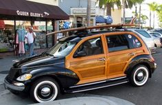 Just a car guy : 2 of 10 woody custom PT Cruisers made in Riverside. One got the great looks and headlights, the other got the hood ornament