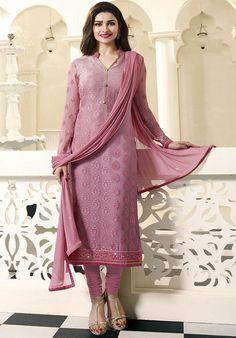 Prachi Desai Onion Pink Brasso Suit