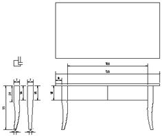 Oak table plan sketch. Legs designed to match my antique empire style chair. Hope I'll manage to cut this shape right.