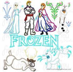 Freezing ELEVEN Design SET Machine Applique Embroidery Designs, multiple sizes including 4 inch