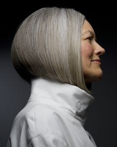 Beautiful gray hair with hilights/brightening