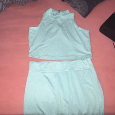 Crop Top Skirt Set Two piece. Worn once. No flaws no stains no piling. Will take any offers  Dresses