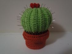 Looking for crocheting project inspiration? Check out Cactus Pincushion by member lizrev.
