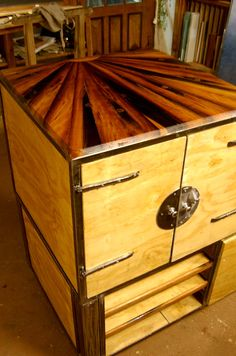 TV Cabinet of scrap wood cedar and red cedar