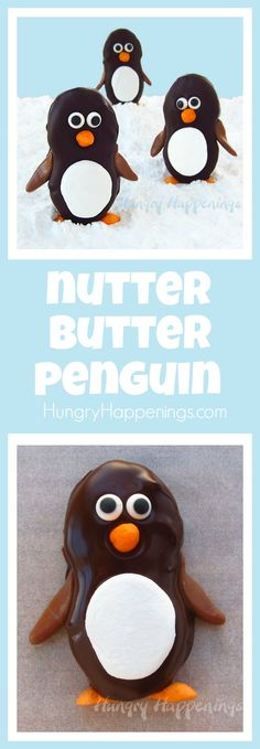 Turn store bought cookies into adorably cute Dark Chocolate Nutter Butter Penguins with Marshmallow Bellies. They are so fun to make using marshmallows, candy eyes, and Tootsie Rolls.